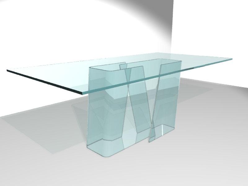 Tavolo da pranzo in cristallo curvato soft trasparenze for Tavolo pranzo cristallo