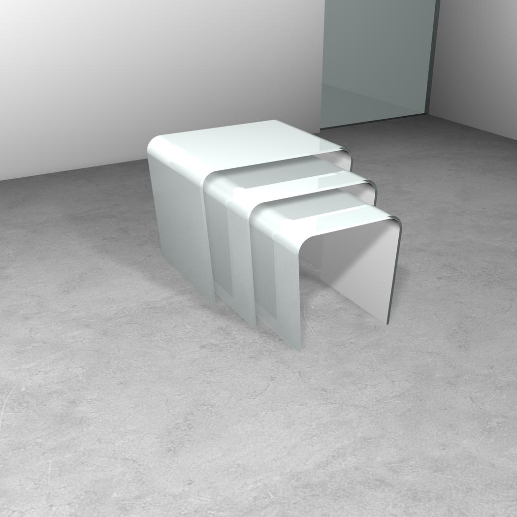 Tris di tavolini in cristallo a ponte trasparenze less - Tris di tavolini ...