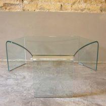 """Tavolino in cristallo curvato """" Treccia"""""""