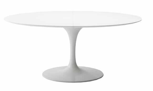 Eero Saarinen Tavolo Tulip Ovale Con Piano In Mdf Bianco O Nero