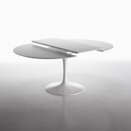 Tavolo Tondo Allungabile Bianco.Eero Saarinen Tavolo Tulip Allungabile Tondo Con Piano In Laminato Liquido Diam Cm 100 Cm 127 Cm 137 Riedizione