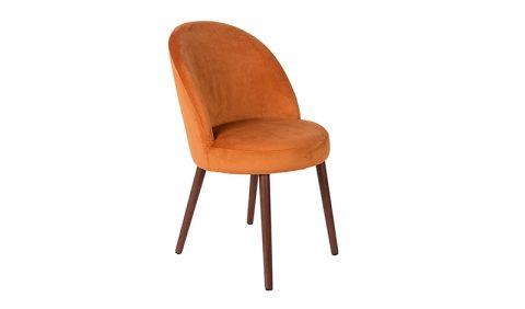 Dutchbone - Sedia Barbara in velluto poliestere arancio
