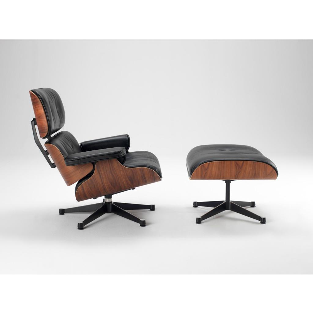 Repliche Poltrone Design.Lounge Chair In Palissandro E Pelle Nera Con Ottomana Replica Showroom Sale